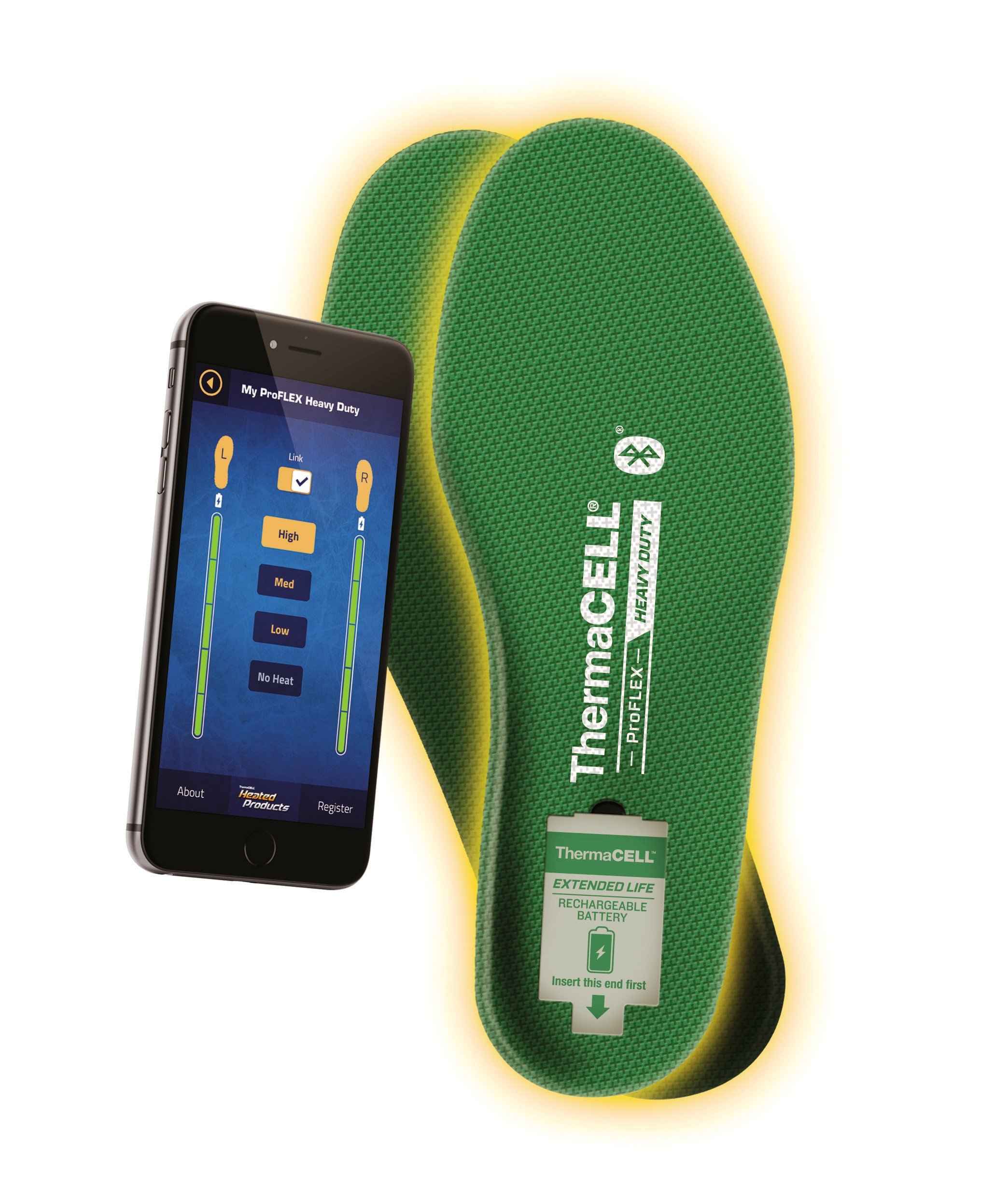 ThermaCELL Proflex Heavy Duty Heated Shoe Insoles with Bluetooth Compatibility, XL by Thermacell (Image #2)
