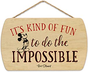 Open Road Brands Disney Mickey Mouse Do The Impossible Hanging Wood Wall Decor
