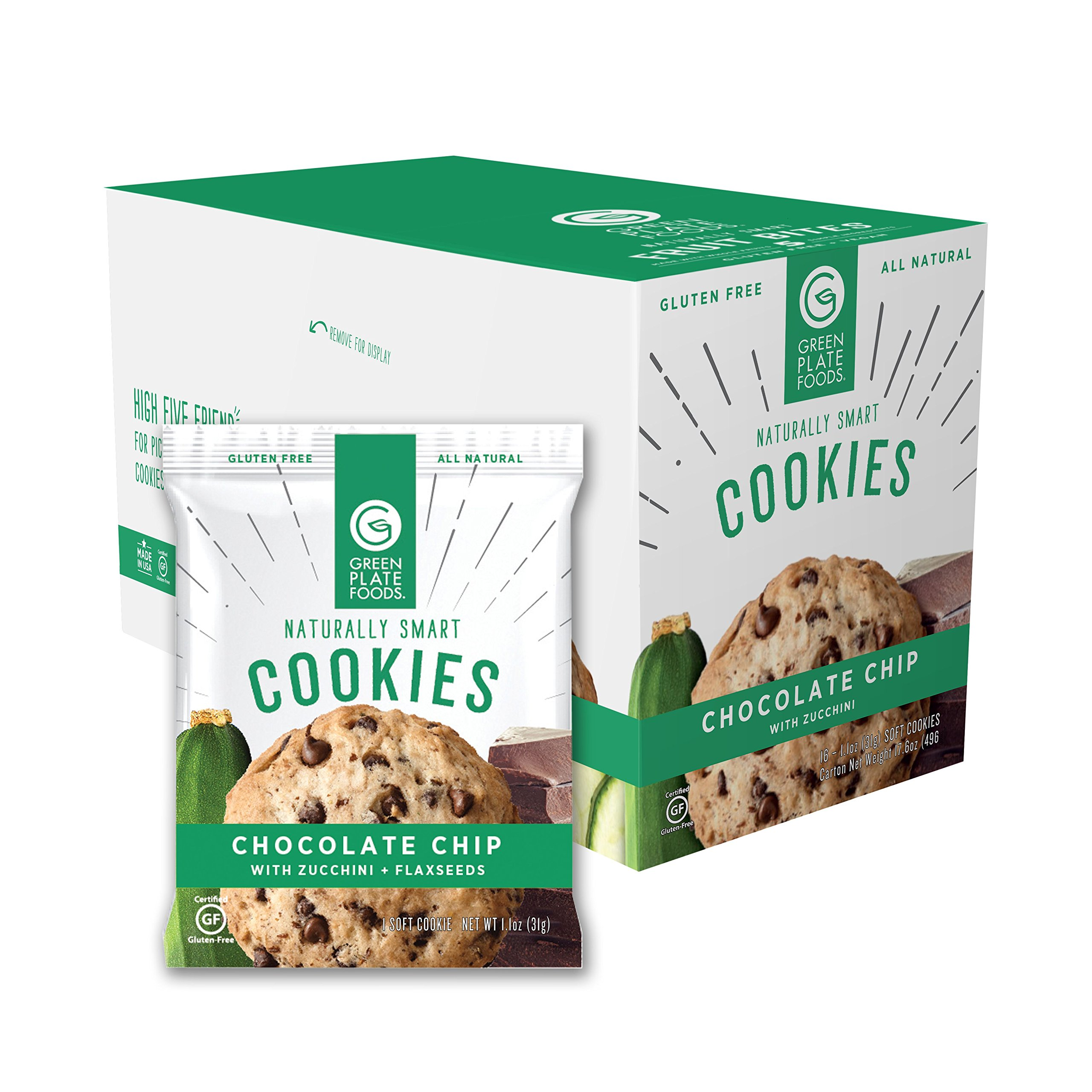 Green Plate Foods Gluten Free Cookies | Healthy Snacks Made With All Natural Ingredients - 16 Count (Chocolate Chip Zucchini) by Green Plate Foods