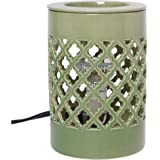 Hosley Candle Company Green Ceramic Electric Fragrance Tart/ Cube Wax, Fragrance Oil Warmer