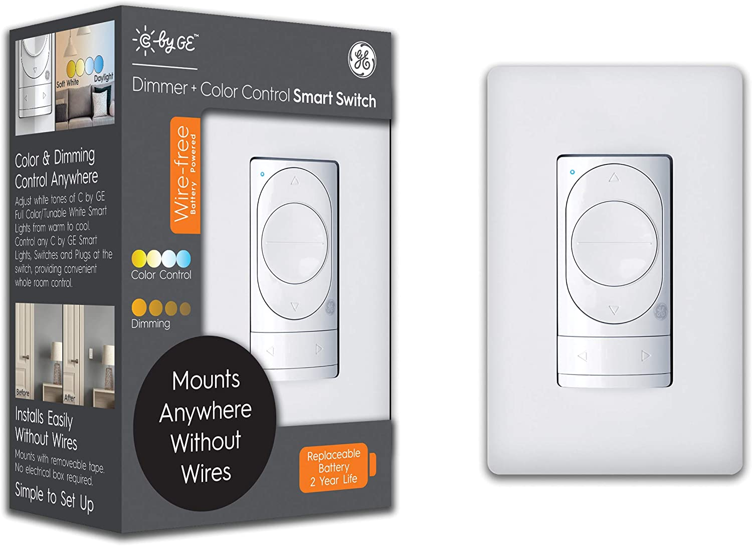 C by GE Wire-Free Smart Dimmer Switch + Color Control, Bluetooth Dimmer Light Switch, Battery Powered Smart Switch, Peel-and-Stick Removable, White, 1-Pack