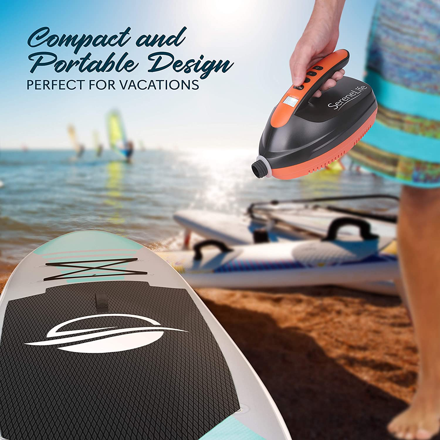 for Inflatable SUP Stand Up Paddle Board//Boat 110W Rechargeable Quick Air Inflator w//LCD SereneLife SLPUMP25 Water Sports Inflatables Digital Electric Air Pump Compressor 0-16 Adjustable PSI