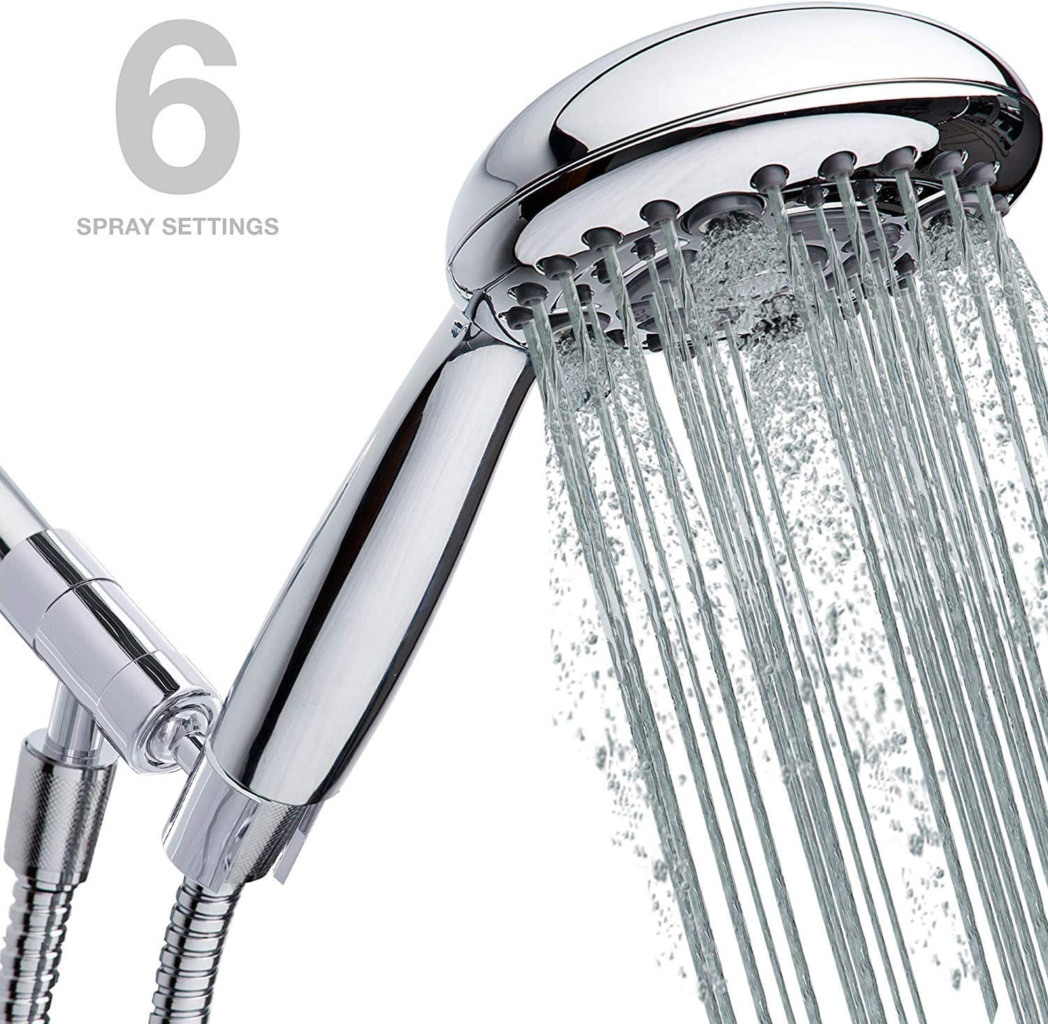 High Pressure Handheld Shower Head 6-Setting - Chrome Hand held Rain Shower with Extra Long 70 inch Steel Shower Hose and 100% Metal Shower Head Holder for Hand Held Shower Heads