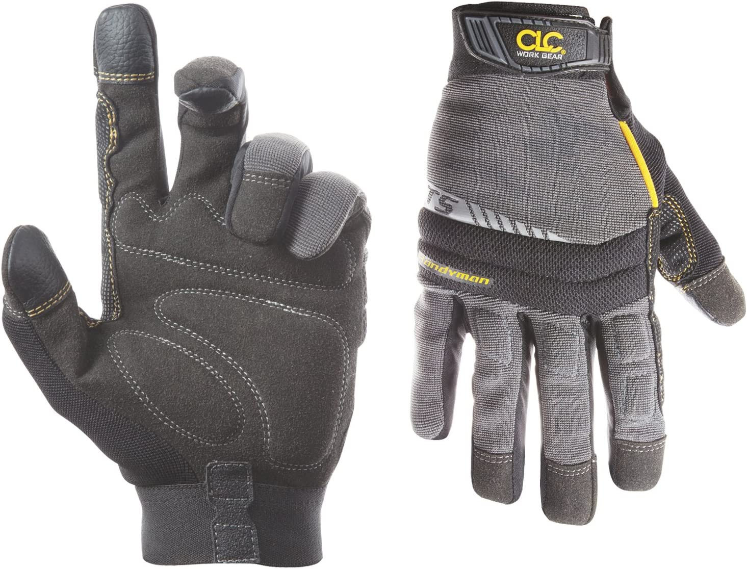 CLC Custom Leathercraft 125S Handyman Flex Grip Work Gloves, Shrink Resistant, Improved Dexterity, Tough, Stretchable, Excellent Grip