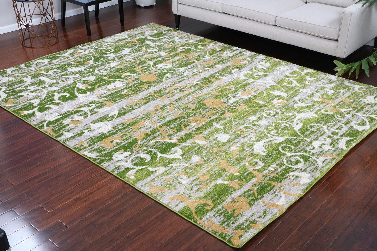 Paris Collection Oriental Carpet Area Rug Cream Green Gold 5052green 2x8 2'2x7'2