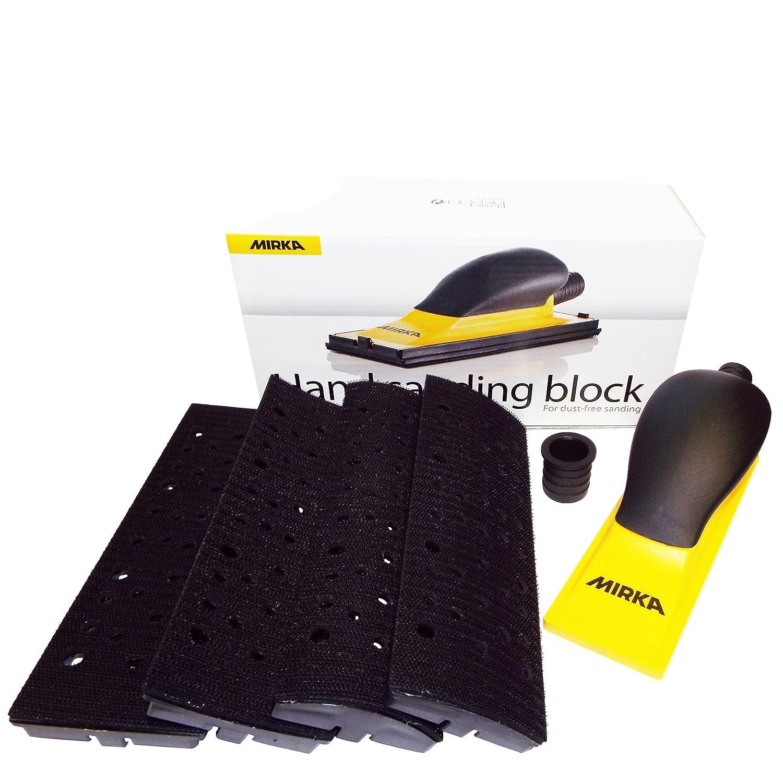 Mirka Handblock Kit 70 x 198 mm Hook'N'Loop HookIt Multi Head Sanding Block A Multipurpose Hand Sanding Tool Handblock Body 70 x 198 mm/Hose Adapter 20/28 mm Outer Diameter/4 Changeable Plates