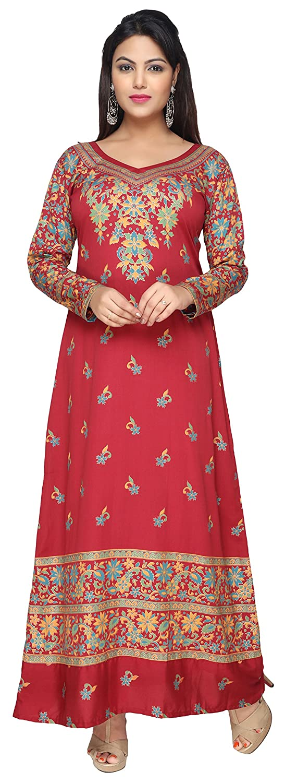 Maple Clothing Printed Women's Long Kaftans Abayas Long Sleeve Dress Tunic Ekft104-ap