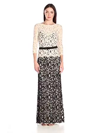 6642ab10200d3 Amazon.com: Tadashi Shoji Women's Lace Gown with 3/4 Sleeve and Belt ...