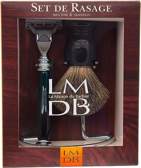 La Maison du Barbier – Set de afeitado negro de 3 piezas (brocha ...