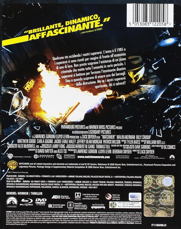 Watchmen Steelbook- Edizione Limitata Blu-Ray + DVD Italia Blu-ray: Amazon.es: Billy Crudup, Carla Gugino, Patrick Wilson, Zack Snyder: Cine y Series TV