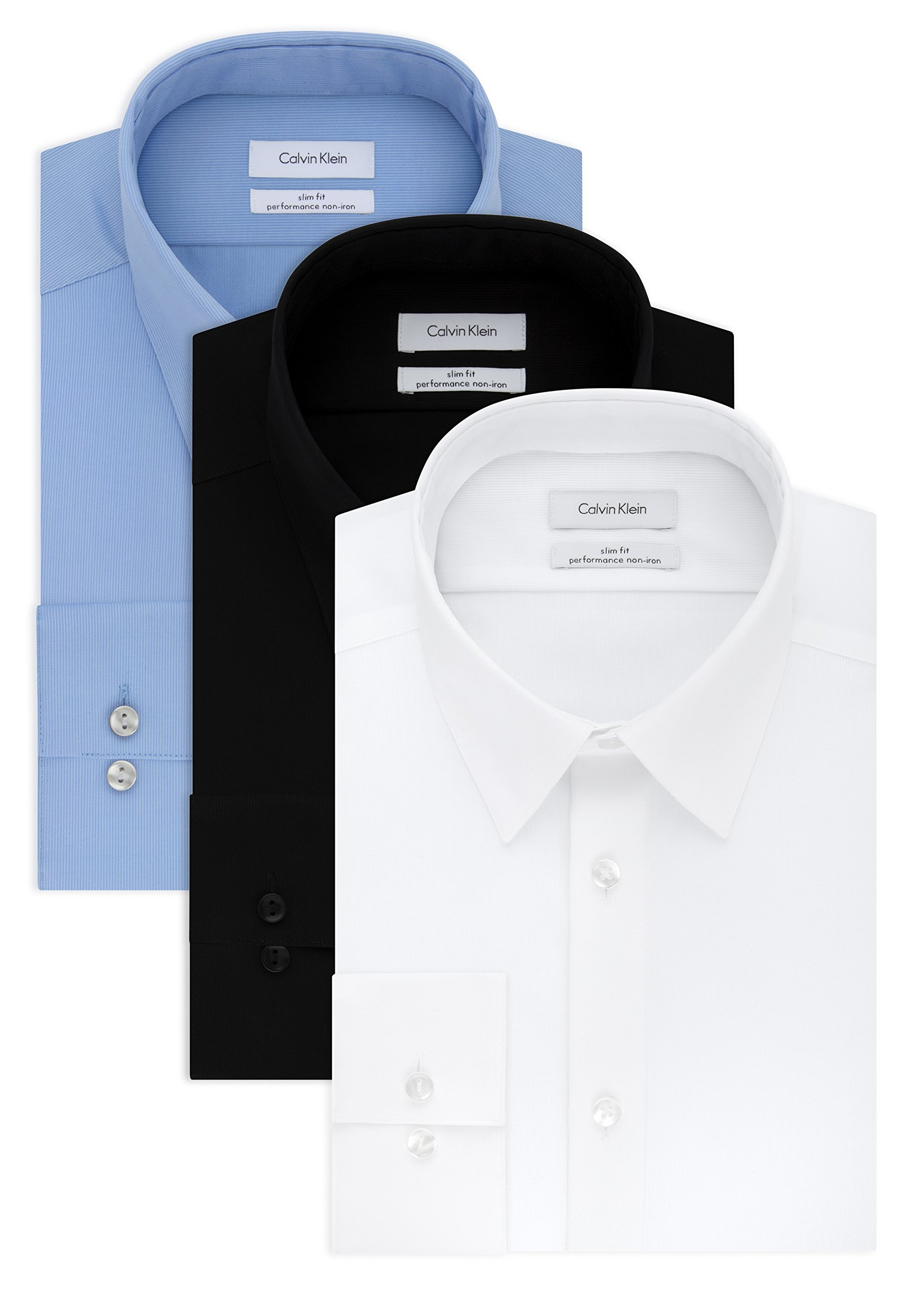 Calvin Klein Men's Non Iron Slim Fit Solid Dress Shirt, White/Mist/Black, 16'' Neck 32''-33'' Sleeve