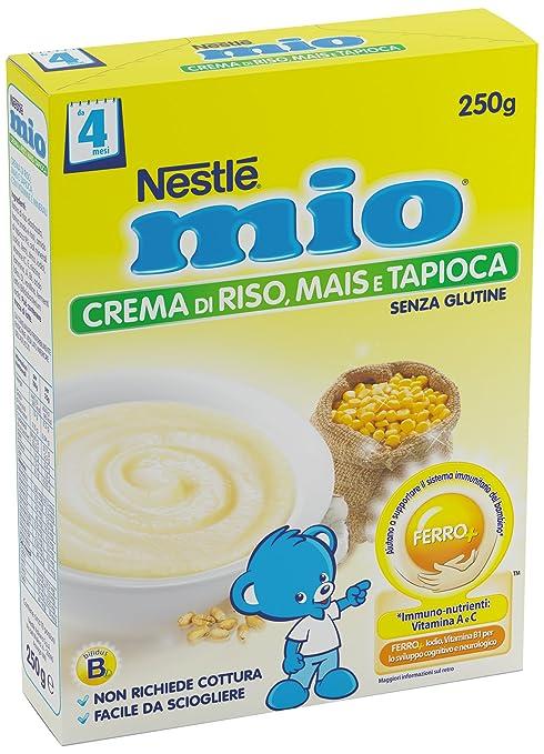 5 opinioni per Nestlé Mio Crema di Riso Mais Tapioca senza Glutine da 4 Mesi, 250g