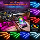 Car LED Strip Lights, Wsiiroon 4pcs 48 LED Bluetooth App Controller Interior Lights Multi Color Music Car Strip Light…