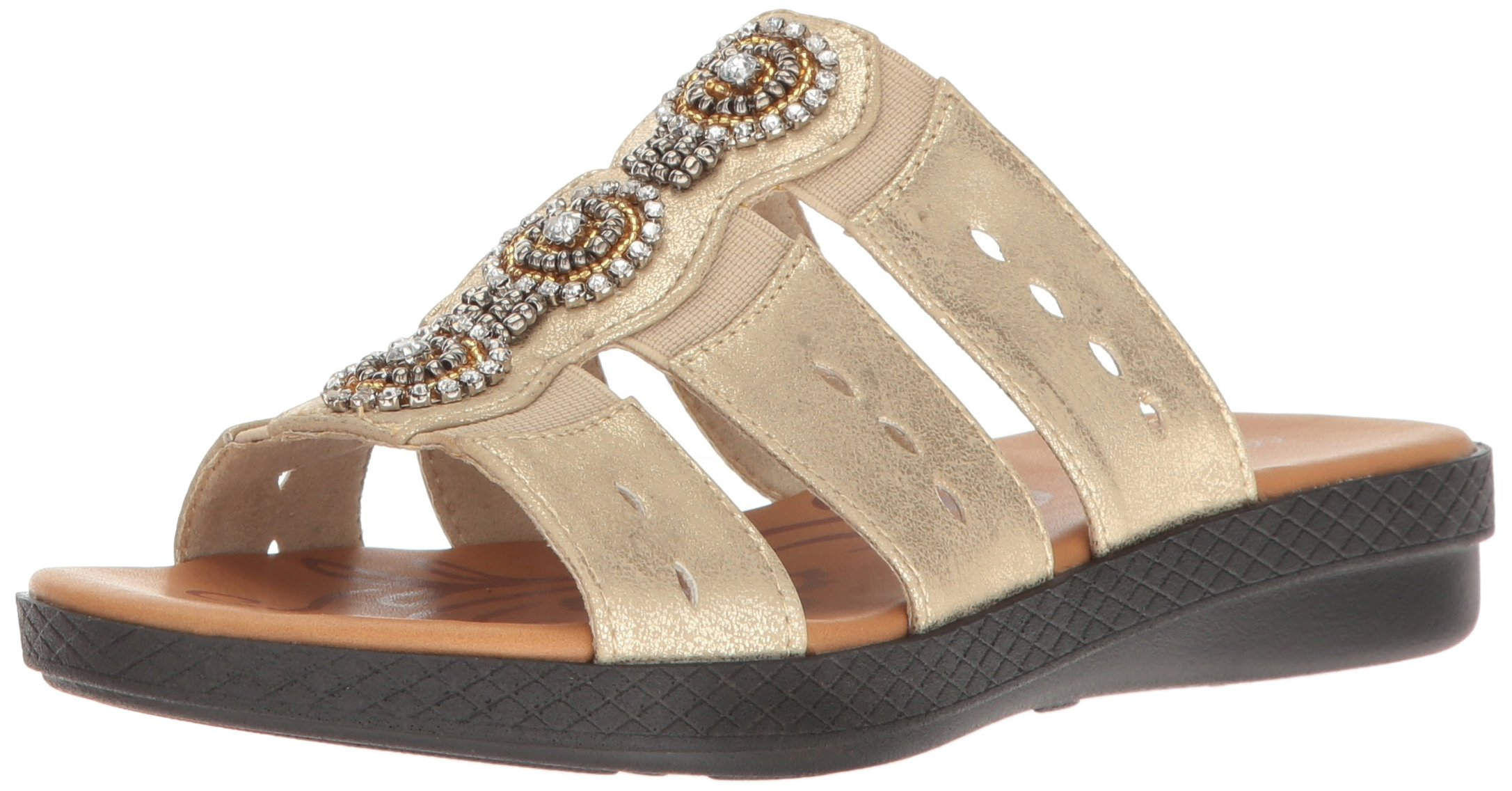 Easy Street Women's Nori Flat Sandal, Soft Gold, 10 M US