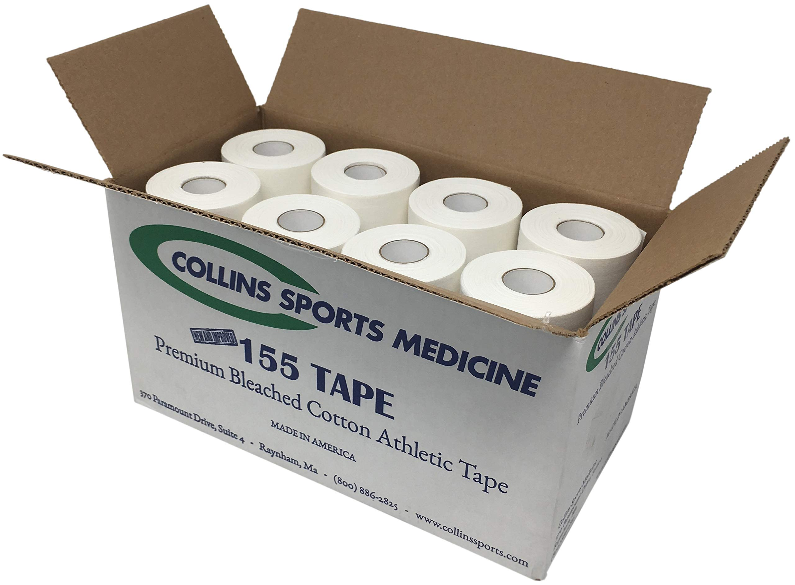 Collins 155 Premium 100% Cotton 1.5'' x 15yd Athletic Tape - White (32/Case) by Collins Sports Medicine