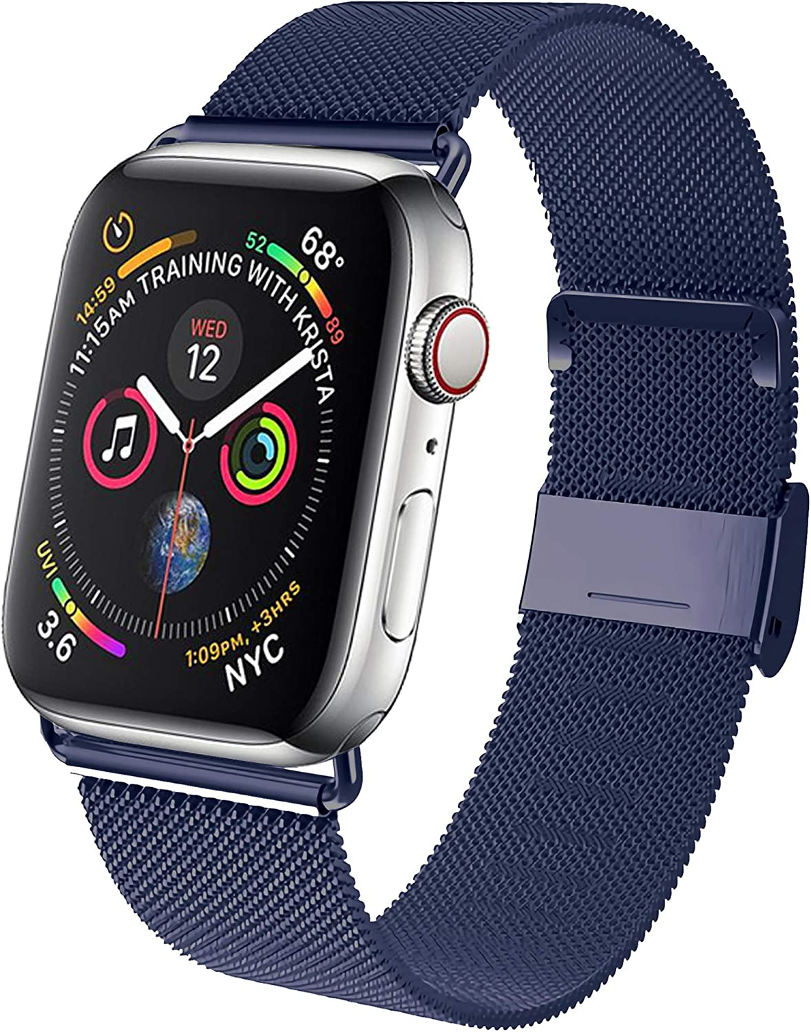 GBPOOT Band Compatible with Watch Band 38mm 40mm 42mm 44mm, Wristband Loop Replacement Band for Iwatch Series 6/SE/5/4/3/2/1,Midnight Blue,38/40mm