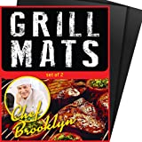 Chef Brooklyn BBQ Grill Mat – Set of 2 Heavy Duty Non-Stick Grilling Mats 16x13 Inch Ideal for Gas, Charcoal, Oven or Electric Barbeques Great Gift for Dad