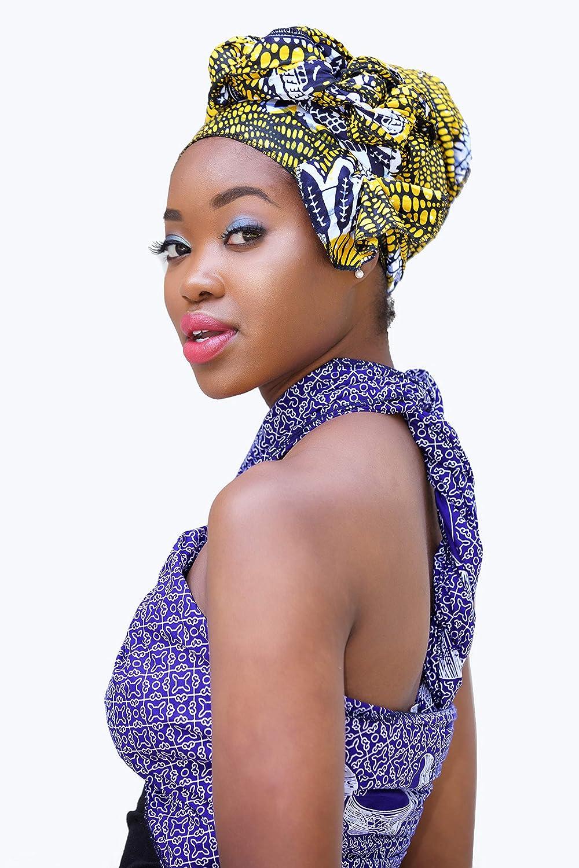 Amazon.com: Headwrap/african print headwrap/turban / Headtie/ankara headscarf/African headtie/wax print headwrap/headscarf - yellow, blue and white: ...