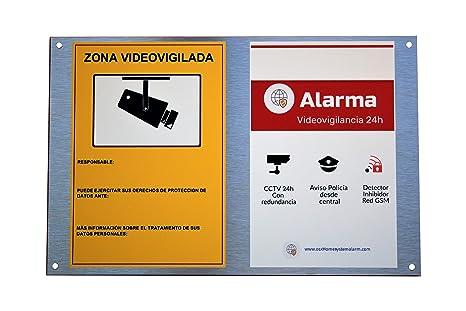 Cartel alarma doble: alarma y zona videovigilada ALUMINIO ...