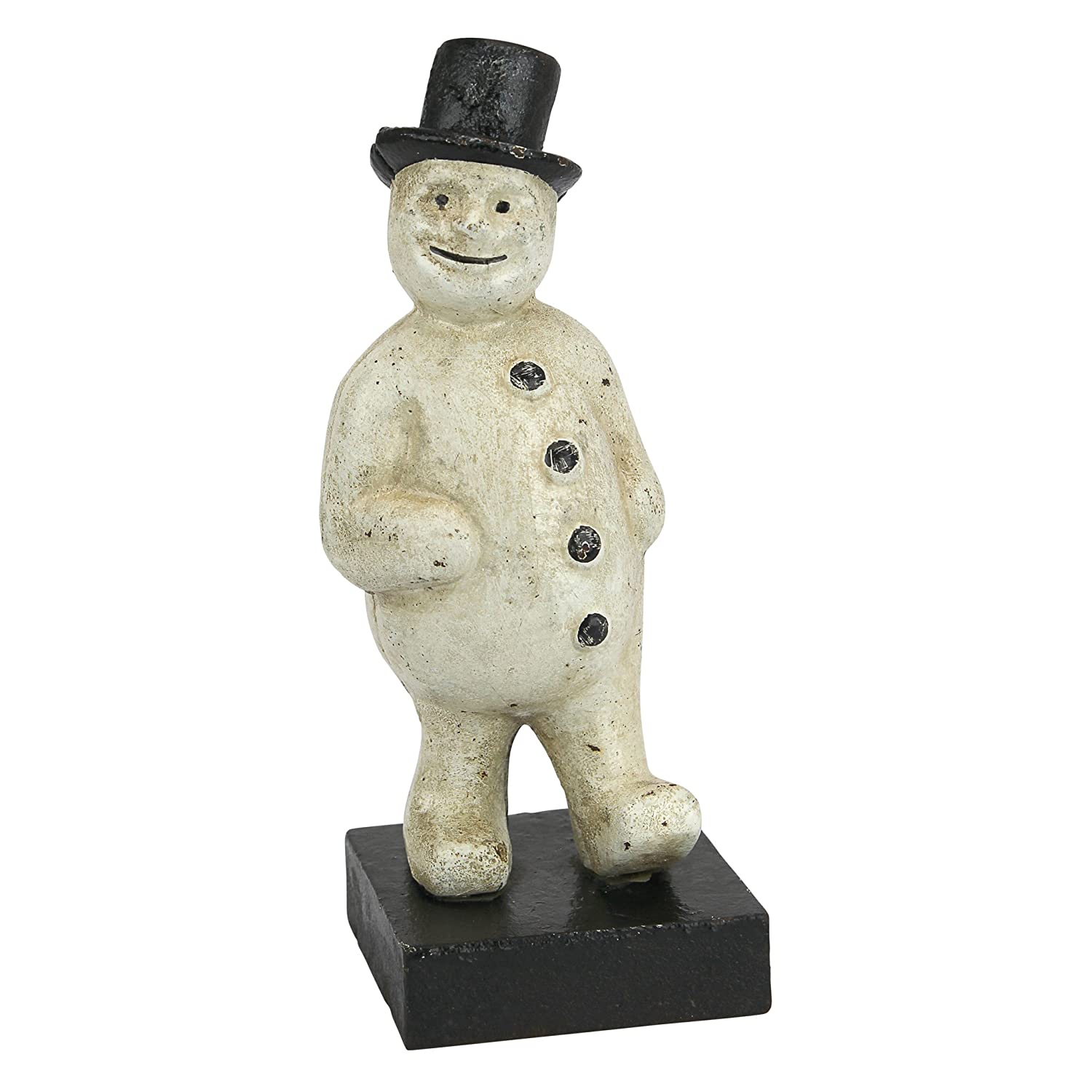 Design Toscano Top Hat Snowman Still Action Die-Cast Iron Coin Bank, Full Color