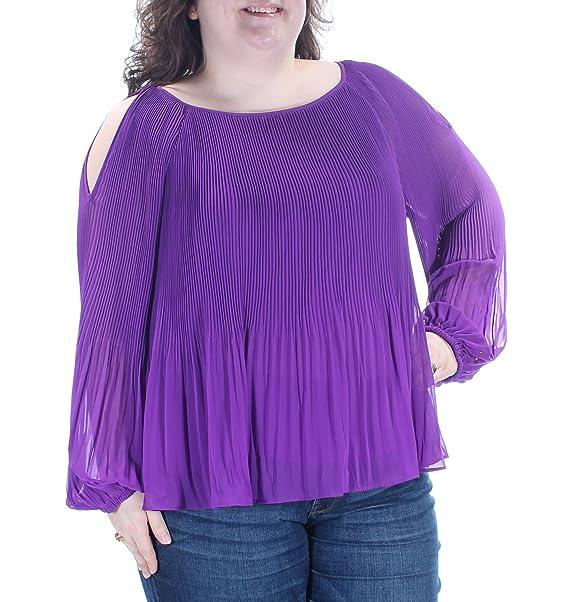 aec113ecc7c Image Unavailable. Image not available for. Color: INC International  Concepts Pleated Cold-Shoulder Vivid Purple Blouse Size XXL