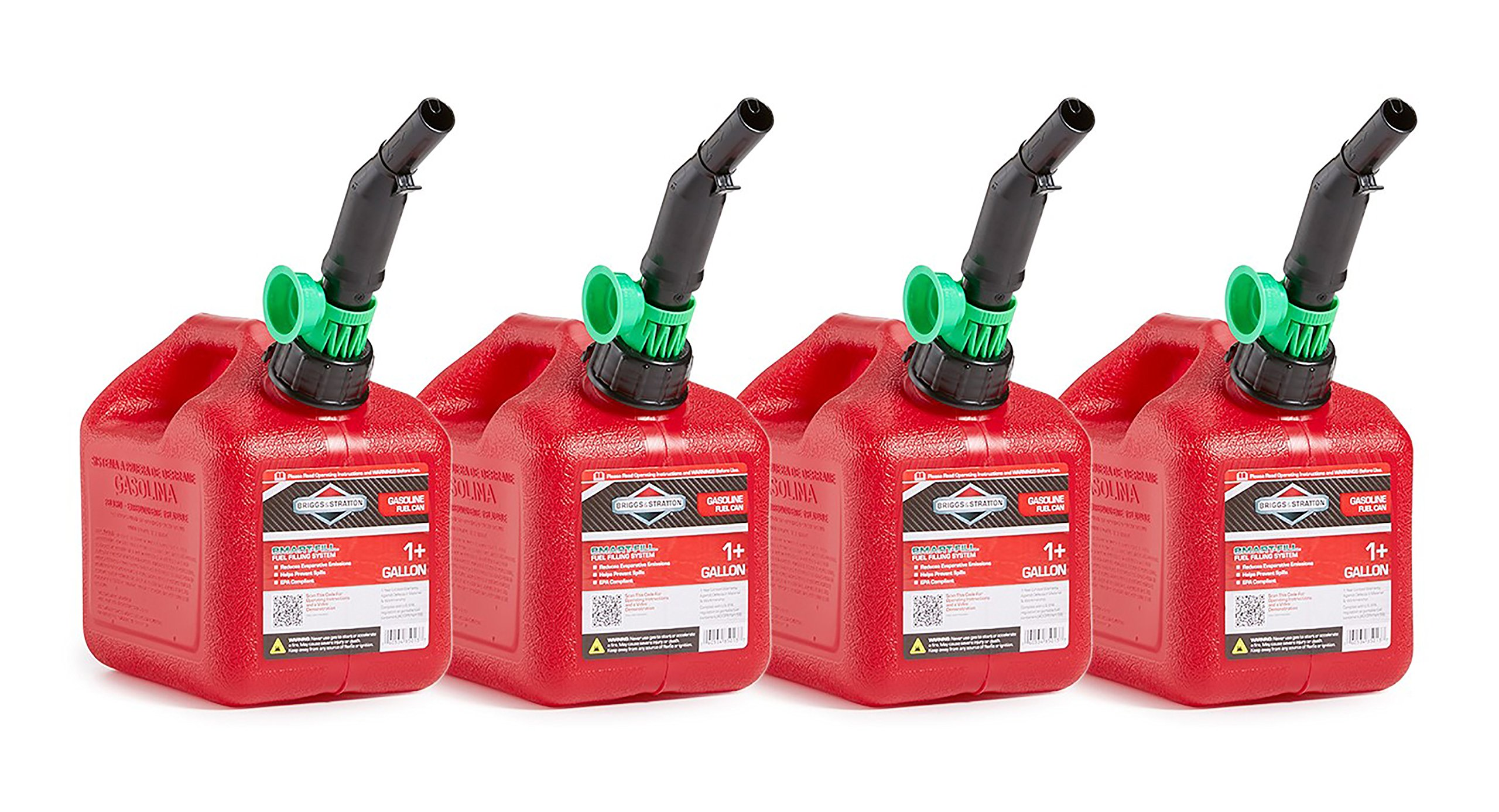 Briggs & Stratton 86013 Smart-Fill 1+ Gallon Gas Cans (4 Pack)