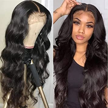 Amazon Com Brazilian Body Wave Human Hair Lace Frontal Wigs 13x4x1 T Part Lace Front Wigs For Black Women Natural Hairline 18 Inches Beauty