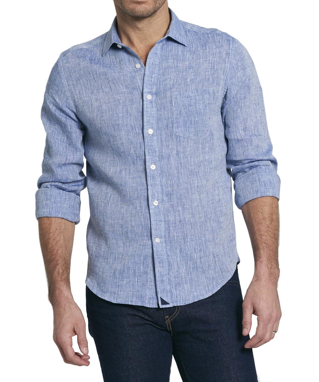 Untuc Kit Vin Santo Men's Button Down Shirt, Solid Indigo Blue Linen, 100 Percents Linen. by Untuc Kit