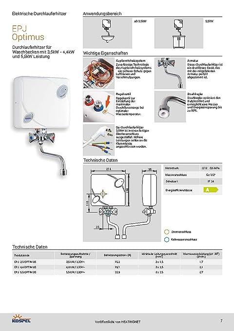 Calentador de agua pequeño 5,5 kW - Optimus EPJ con grifo: Amazon.es: Bricolaje y herramientas