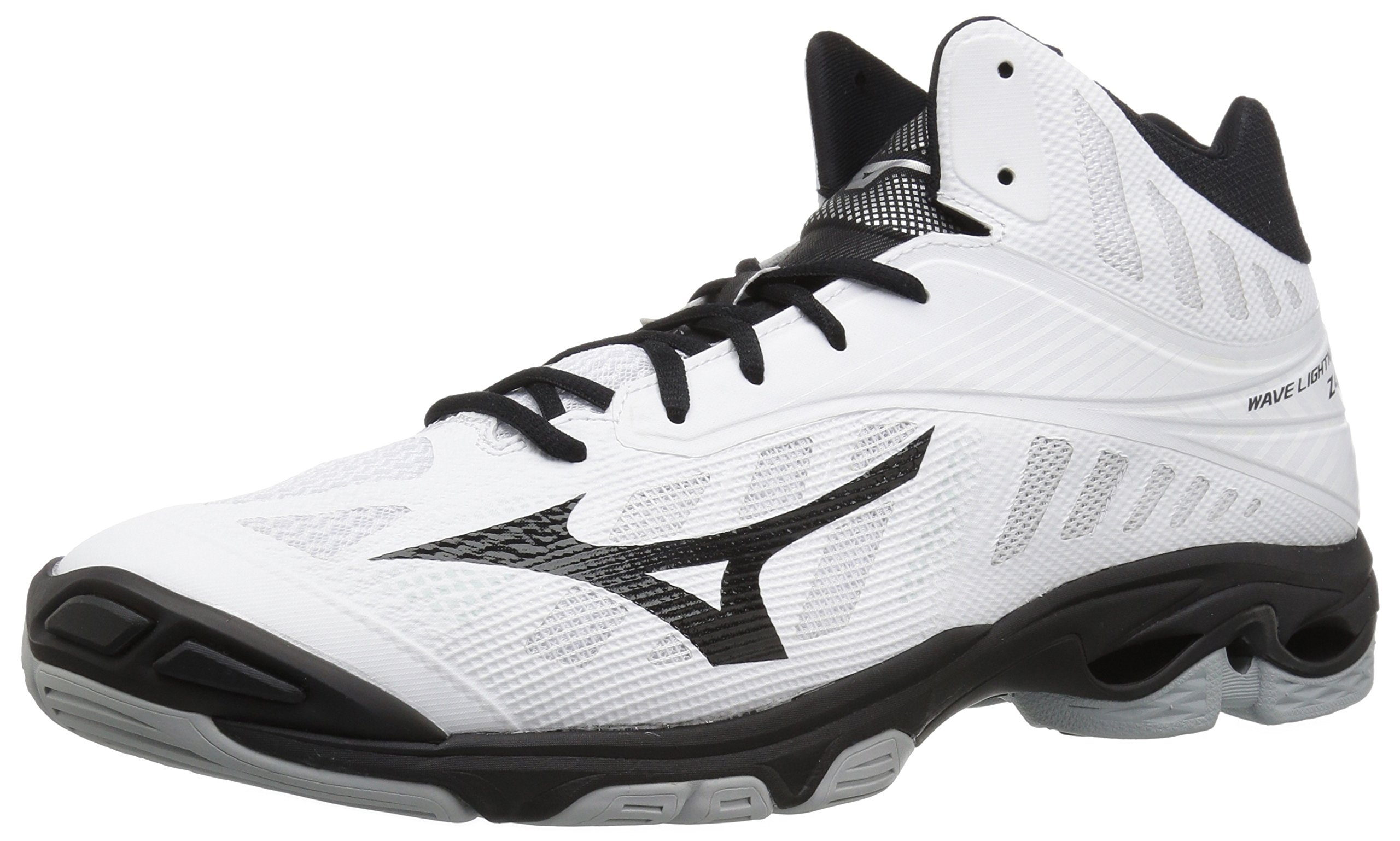 Mizuno Men's Wave Lightning Z4 Mid Volleyball Shoe, White/Black, Men's 15 D US by Mizuno