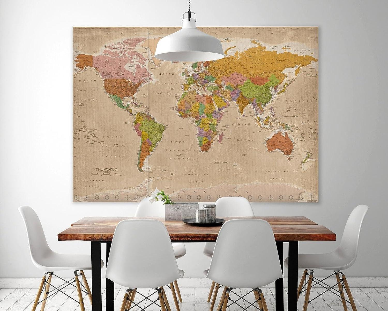 140cm x 100cm + Un Poster Bora Bora en Cadeau! Maps in Minutes/® Up Close Poster XXL Carte du Monde 2018 Vintage