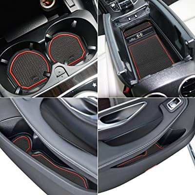 Auovo Anti Dust Mats for Mercedes-Benz C-Class C300 Sedan Coupe 2015-2020 Custom Fit Door Compartment Liners Cup Holder Console Liners Interior Accessories(8pcs/Set) (Red): Automotive