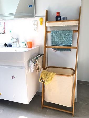 SoBuy FRG88 MI Badezimmer Regal, Leiter Design, Bambus, Mit Handtuchhalter