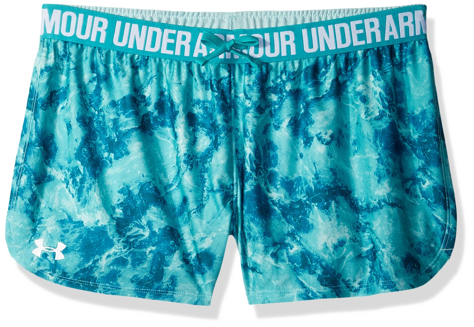 Under Armour Girls Play Up Printed Shorts, Teal Punch /White, Youth X-Small