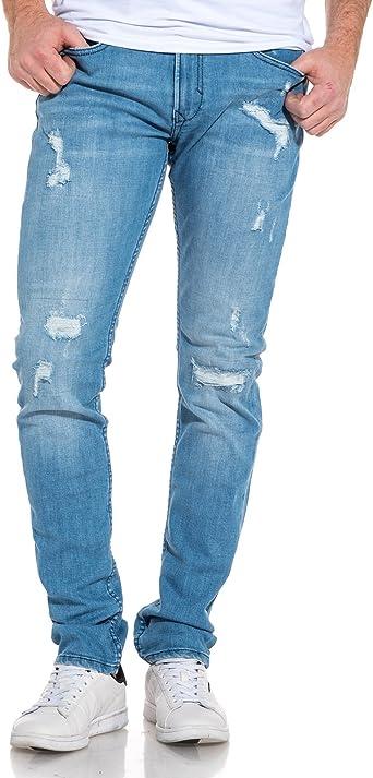 KAPORAL Jeans Slim Bleu Clair délavé déchiré: