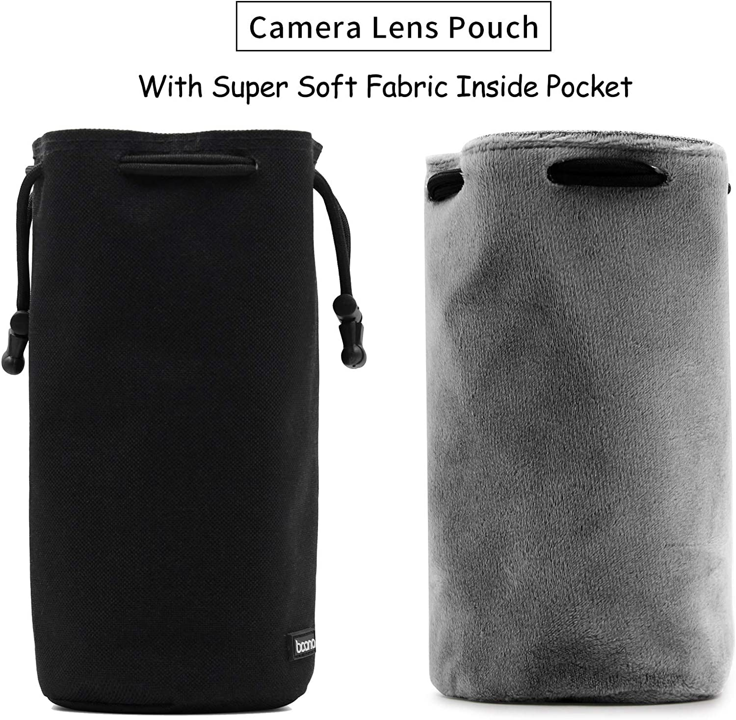 5.9x3.94x8.26 GreyVelvet Protector Video Drawing Case for DSLR Camera Lens Canon, Nikon, Pentax, Sony, Olympus, Panasonic BOONA Waterproof Lens Bag with Shoulder Strap