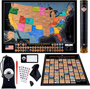Scratch Off Map of The United States - National Park Scratch Off Poster - Includes Large Scratch Off USA Map with 50 Landmarks and Full US Scratch Off Map Kit – Deluxe Travel Map Gift for Travelers