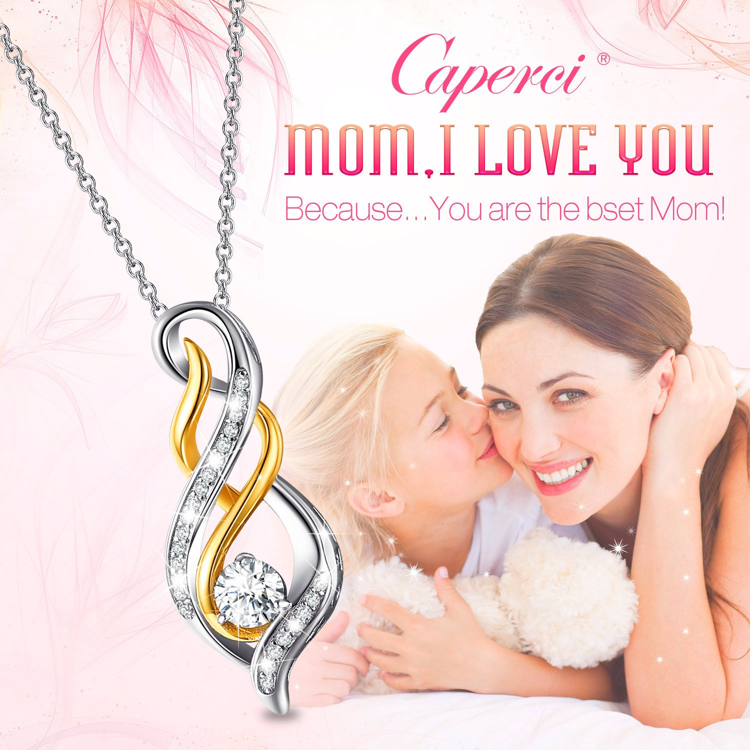 Caperci Sterling Silver Two-Tone Diamond Accent Twist MOM Flame Pendant Necklace for Women, Birthday Gifts for Mom by Caperci (Image #2)