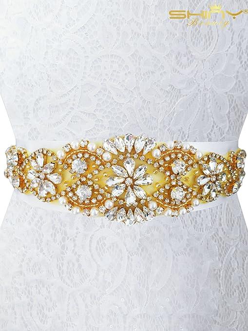 Amazon Com Wedding Belt Rhinestone Belt Wedding Sash Bridal Belts Wedding Dress Belt Gold Rhinestone Belt Crystal Applique Bridal Belts Wedding Belts For Women Wedding Belt For Bride Clothing