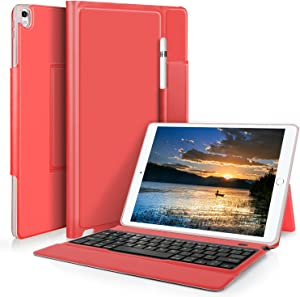 IVSO Keyboard Case for Apple ipad pro 10.5 Tablet - Ultra Lightweight Shockproof One-Piece Wireless Keyboard Stand Case Cover with Pencil Slot for Apple ipad pro 10.5 Tablet (Red)