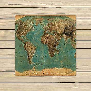 Custom estilo vintage mapa del mundo patrón toalla de mano, toalla de Spa, playa toallas de baño, cuarto de baño cuerpo ducha toalla de baño Wrap: ...