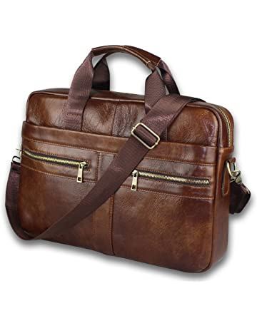 6749a0ea7a Timeless Genuine Leather Messenger Bag for Men – Gorgeous Superior Brown  Carry All Briefcase with Padded
