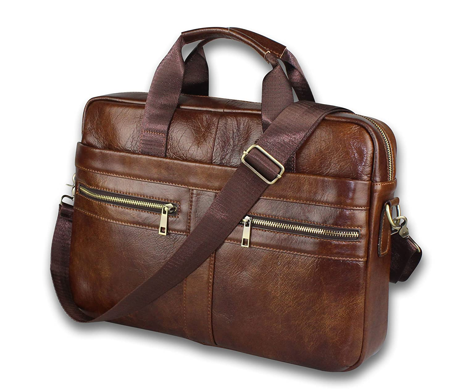 Vintage Genuine Leather Messenger Bag for Men - Brown Color - Padded Laptop Protection - fits 13 inch Computer or Tablet - Carried as Briefcase Shoulder or Crossbody Bag with Adjustable Strap Party Exports Limited TLB001
