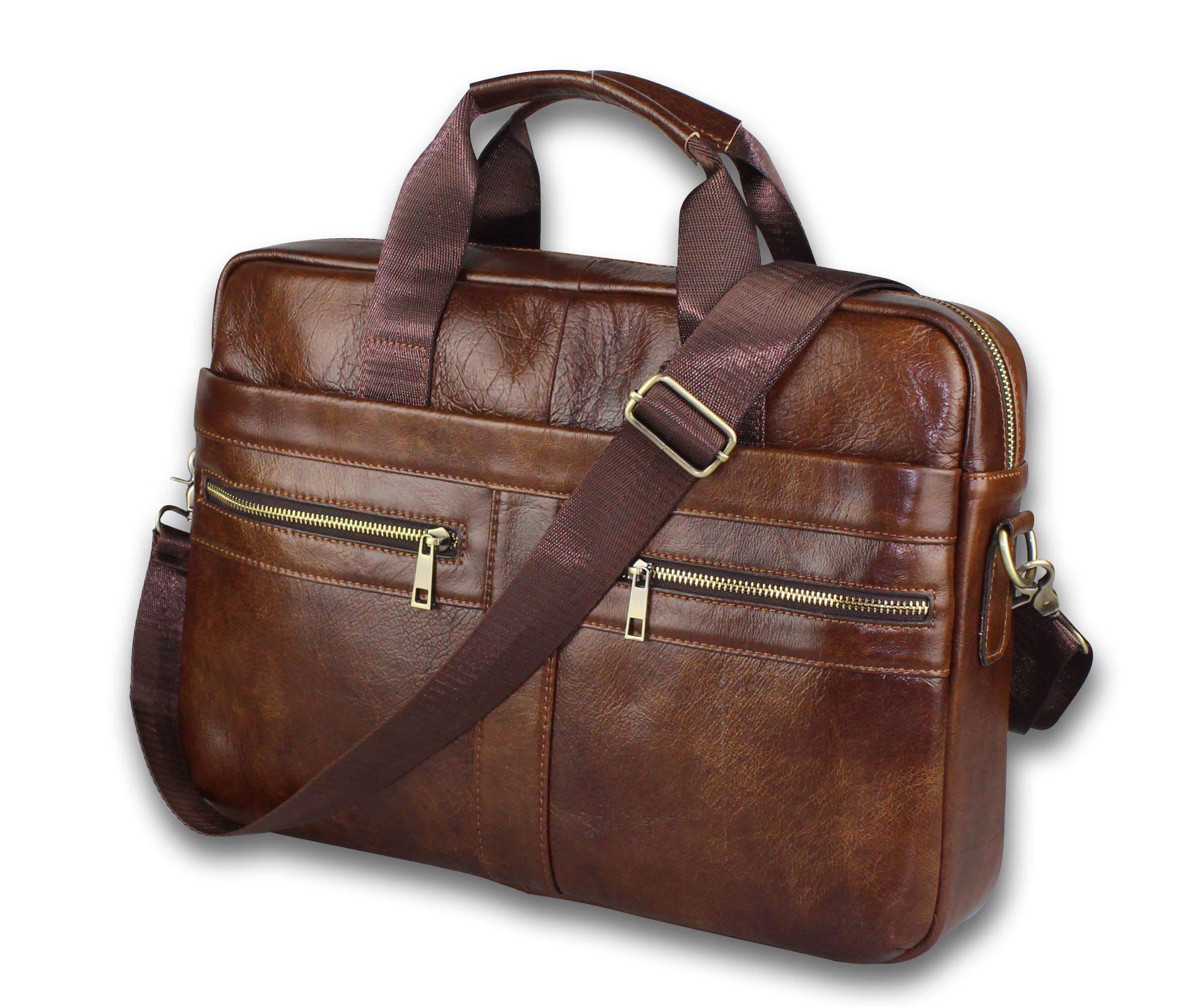 Timeless Genuine Leather Messenger Bag for Men - Gorgeous Superior Brown Carry All Briefcase with Padded Laptop Protection for 14 Inch Computer - Shoulder Satchel or Crossbody Bag w/Adjustable Strap by BRA1NST0RM