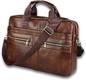 BRA1NST0RM Genuine Leather Messenger Bag for Men – Padded 14 Inch Laptop Briefcase