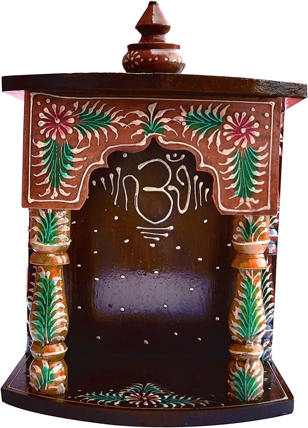 Hindu Religious Wood Temple with om Symbol for Pooja and Religious Purpose, Must for Pooja Room at Home and Office, Religious Perfect for Home, Hand Made Wood Handcrafted Temple