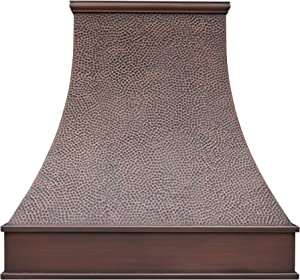 "SINDA Custom Hammered 16 Gauge Solid Copper Range Hood with 304 Stainless Steel Vent and Fan Motor, H7BSW4848, 48""Wx48""H"