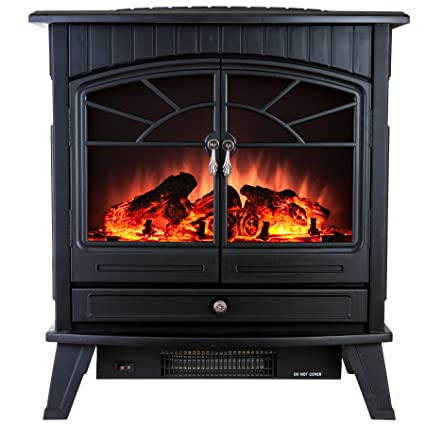 AKDY 23u0026quot; Tempered Glass 1500W Adjustable Freestanding Portable Logs  Style Electric Fireplace Heater Stove