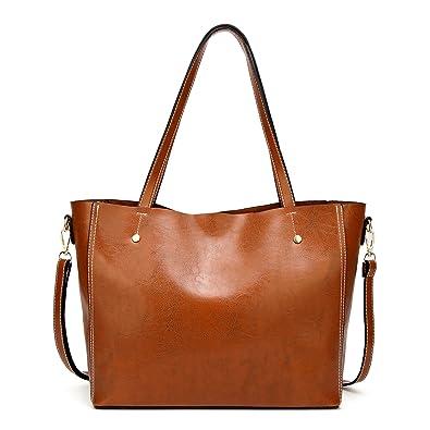 f25106fe88329 Womens Lady Leder Handtaschen große Kapazität Retro Vintage Messenger  Aktentasche lässig Shopper Umhängetaschen