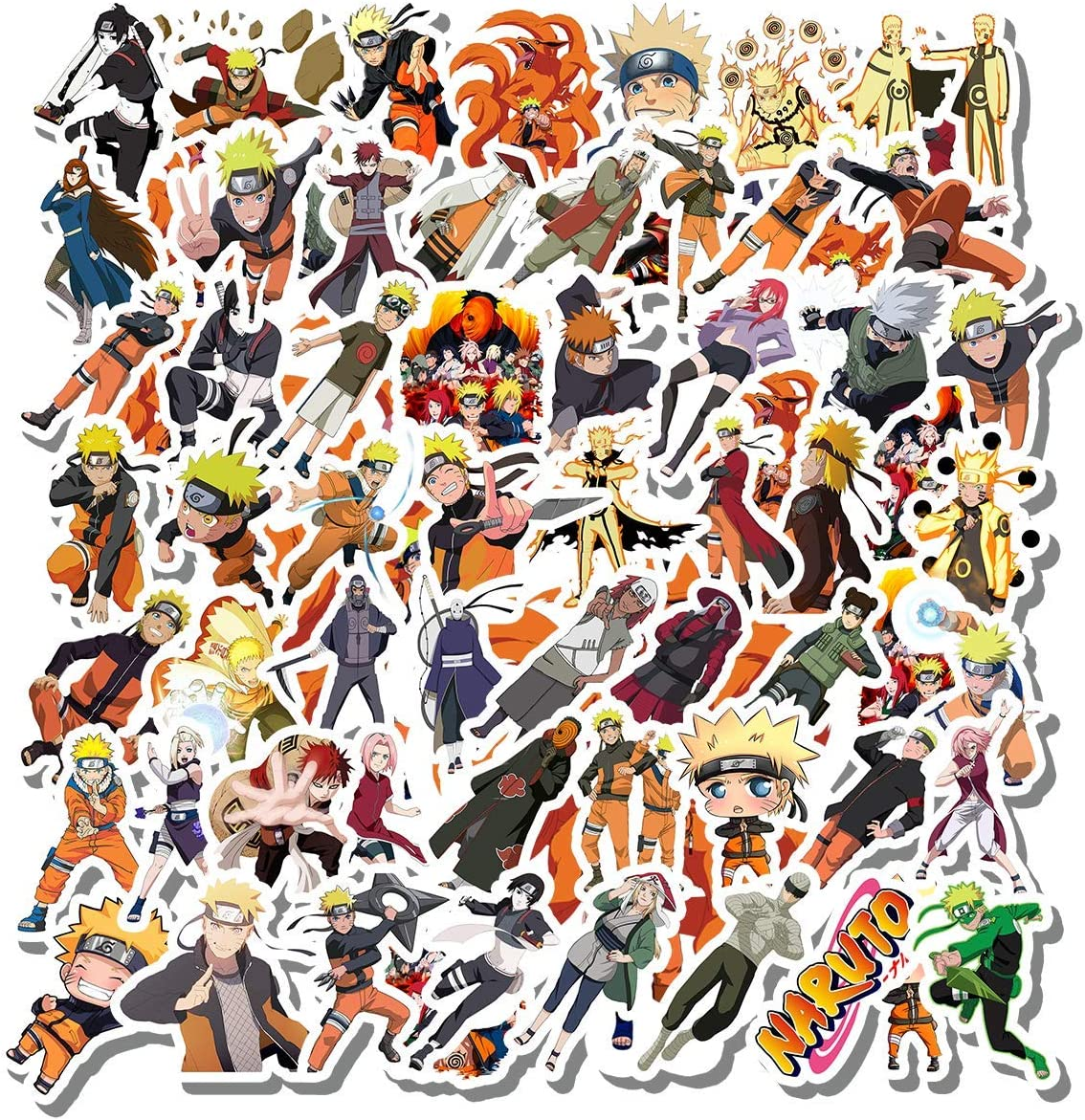 Philevathan 58 Pcs Stickers Pack Sticker Funny Wall Naruto Aesthetic 58 Vinyl Colorful Waterproof Decal for Laptop Bike Bumper Luggage Guitar Bottle Car Water Skateboard